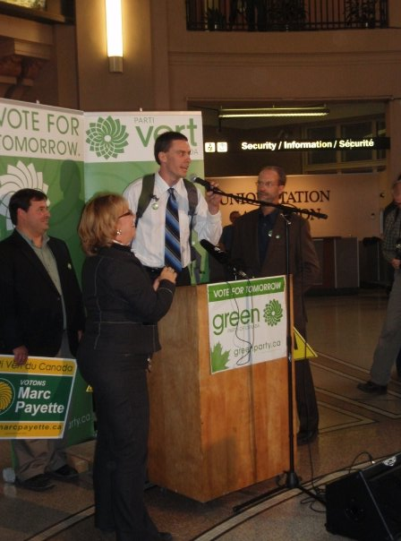 With Elizabeth May at Union Station